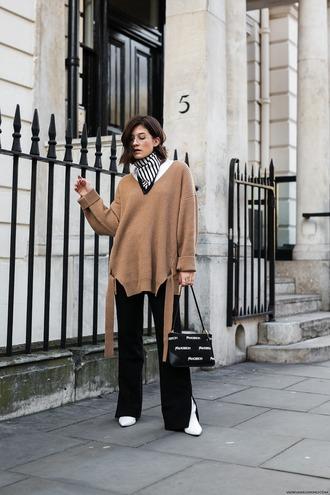 sweater tumblr knit knitwear knitted sweater pants black pants wide-leg pants bag scarf