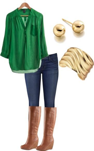 flowy top green