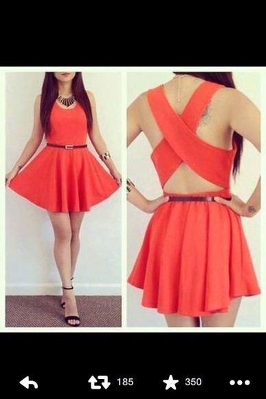 dress red dress summer dress orange dress black belt spring fashion summer outfits summer summer dresses spring dress spring trends 2014