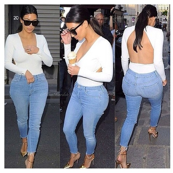 kim kardashian jeans shoes blouse top