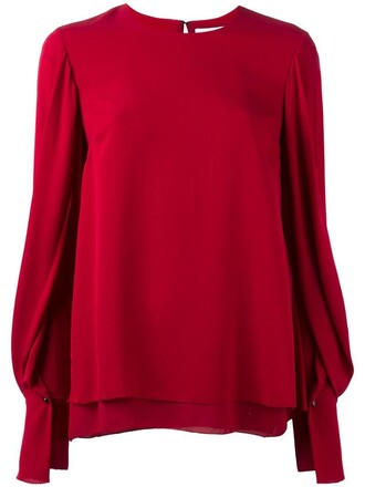 blouse women draped silk red top
