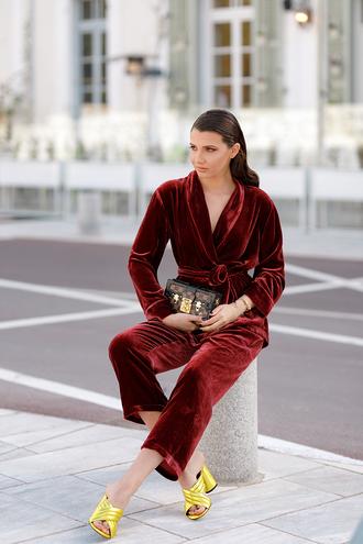 the mysterious girl blogger shoes jewels gold sandals velvet suit velvet jacket velvet pants