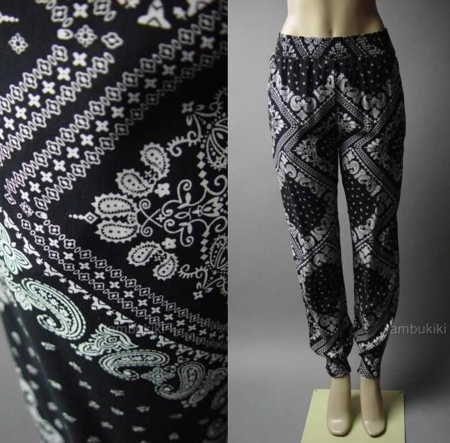 Bandana Print Black White Paisley Slouchy Women Dress Jogger Track 73 AC Pants M | eBay