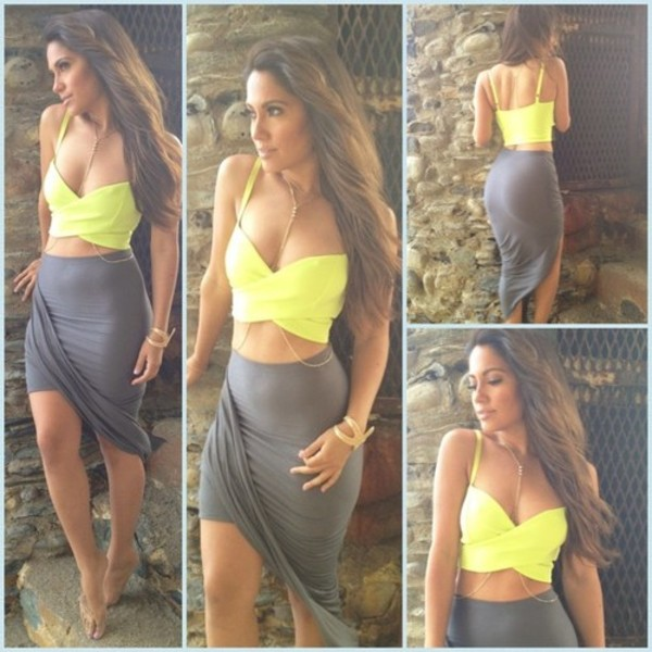 blouse yellow grey shirt crop tops maxi skirt jewels tank top