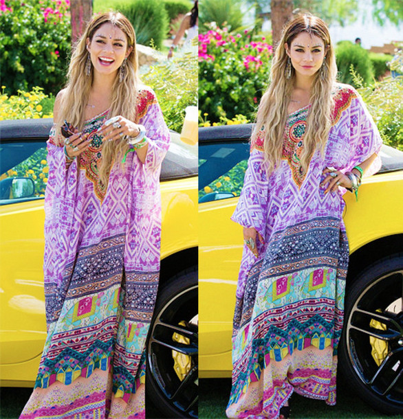 dress vanessa hudgens flowers boho jewels caftan colorful hippie florel vanessa hudgens coachella coachella vanessa coachella bohemian dress