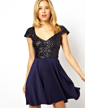 ASOS | ASOS Sequin Top Skater Dress at ASOS