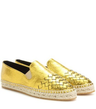 metallic espadrilles leather gold shoes