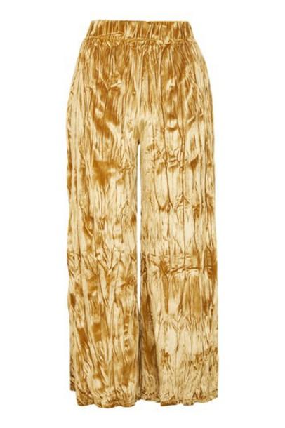 Topshop crushed velvet gold velvet pants