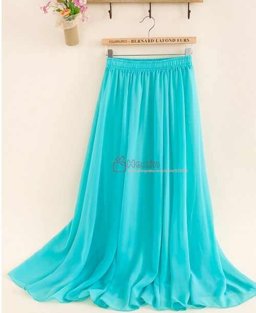 Chiffon long skirt 2014 new,tulle skirts women high waist maxi, pleated skirt free shipping