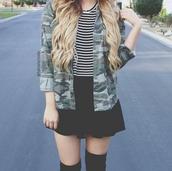 jacket,camo jacket,camouflage,cool girl style,stripes,striped top,black skirt,skater skirt,socks,style,blogger,dope,skirt,t-shirt