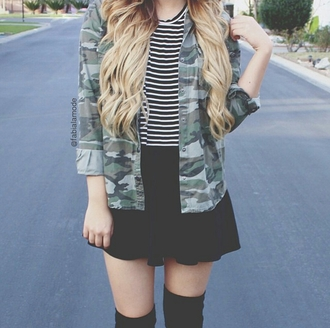 jacket camo jacket camo cool girl style striped striped top black skirt skater skirt socks styled bloggers dope