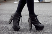 shoes,belt,black heels,black,spikes,spiked heels,shoes with studs,studded shoes,studs,lace up,heels,jeffrey campbell,jeffrey campbell lita,high heels,spikes and studs,edgy,punk,grunge,platform lace up boots