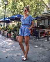 romper,blue romper,sunglasses,shoes,summer outfits