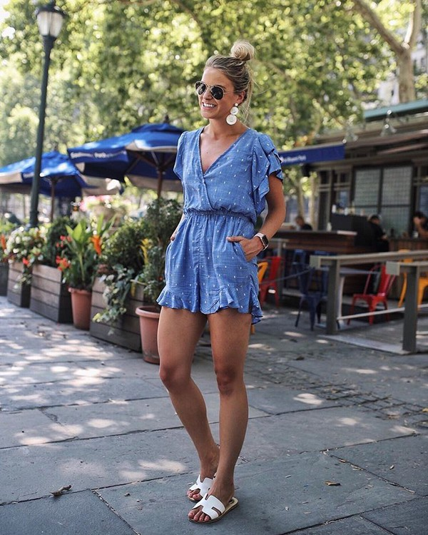 romper blue romper sunglasses shoes summer outfits