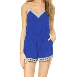 cobalt blue romper with lattice patterned hem from paper hearts