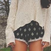 shorts,boho,bohemian,sweater,aztec,jumper,lace,black,white,blouse,pants,nail polish,print,cute,pattern