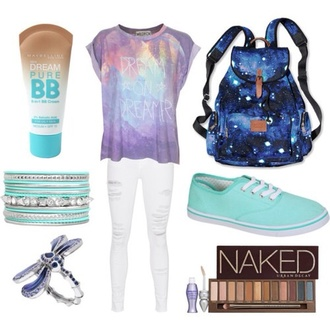 bag galaxy print backpack girly colorful hipster vans outfit ideas idea blue pink purple quote on it cute pretty shirt jeans back to school t-shirt galaxy shirt