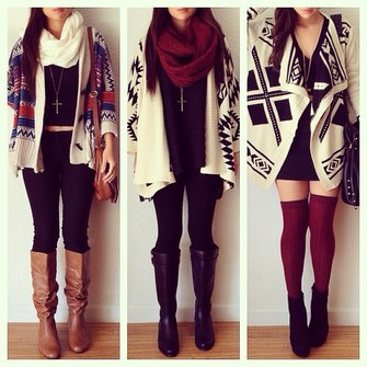scarf jacket tribal cardigan winter boots sweater bag red leggings black red scarf blue cardigan aztec white designs cross scarf red