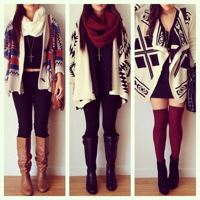 scarf jacket tribal cardigan winter boots sweater bag red black leggings red scarf white blue cardigan cross aztec designs scarf red