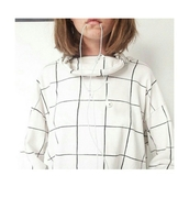 sweater,grudge shoes flower shirt,grid line top,trendy,grid,pale,jacket,white