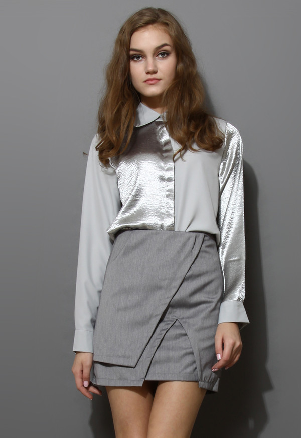 skirt asymmetrical split hem grey