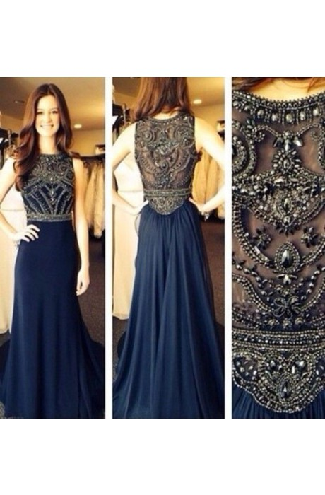 Line strapless floor length chiffon dark navy prom dress with beaded napd0014 sale at shopindress.com