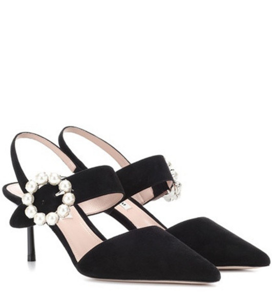 Miu Miu Embellished suede pumps in black