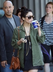 jacket,vanessa hudgens,army green jacket,dress