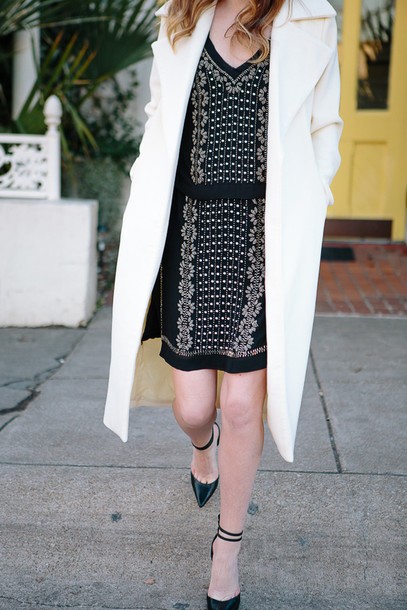 side smile style blogger white coat black dress embellished