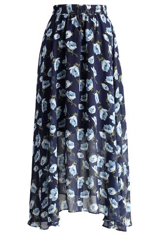 skirt dahlia mist frilling chiffon skirt chicwish chiffon skirt floral skirt summer skirt maxi skirt
