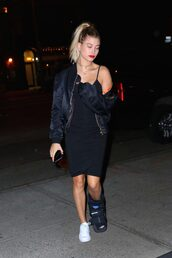 dress,black dress,hailey baldwin,sneakers,jacket,bomber jacket,bodycon dress,midi dress,little black dress,bodycon,girly dress,summer dress,summer outfits,birthday dress,spring dress,spring outfits,clubwear,club dress,sexy party dresses,sexy dress,party dress,party outfits,celebrity,celebrity style,all black everything,alexander wang