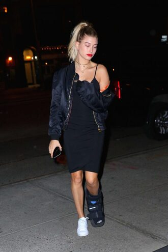 dress black dress hailey baldwin sneakers jacket bomber jacket bodycon dress midi dress little black dress bodycon girly dress summer dress summer outfits birthday dress spring dress spring outfits clubwear club dress sexy party dresses sexy dress party dress party outfits celebrity celebrity style all black everything alexander wang