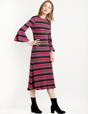 dress,the other side knit dress by the fifth,long dress,knitted dress,other side dress,midi dress,fall outfits,fall dress,knitted sweater,special occasion dress,bell sleeves