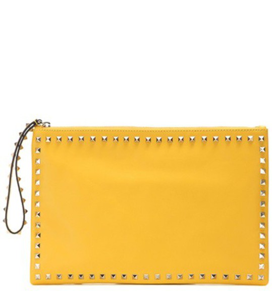 leather clutch clutch leather yellow bag