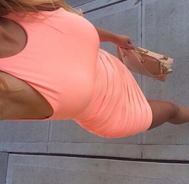 dress pinkish pink dress high-low dresses summer dress summer pink style pretty pink summer