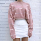 sweater,jumper,pink,pale baby pink,baby pink,zoe pastelle,striped jumper,skirt,shirt,pink sweater,stripes,striped sweater,wool