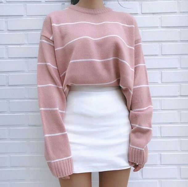 sweater jumper pink pale baby pink baby pink zoe pastelle striped jumper skirt shirt pink sweater stripes striped sweater wool