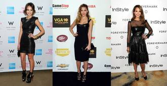 dress jessica alba celebrity black leather short sexy shoes heels jewels bag hair