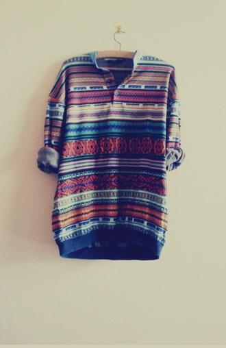 tribal pattern tribal shirt hipster aztec button up sweater shirt