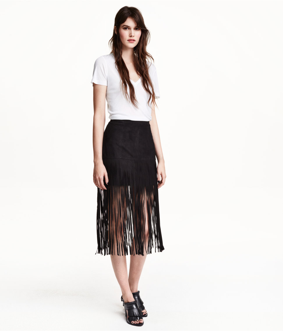 Suede Skirt with Fringe $149