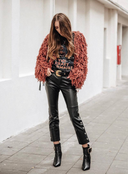 jacket tumblr pink jacket top graphic tee pants black pants leather pants boots black boots ankle boots