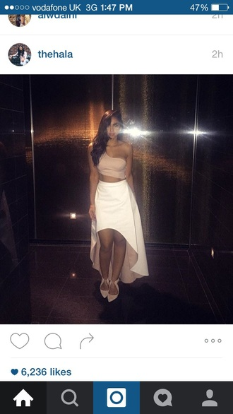 dress two-piece pastel pink white classy formal cute skirt crop tops elegant party