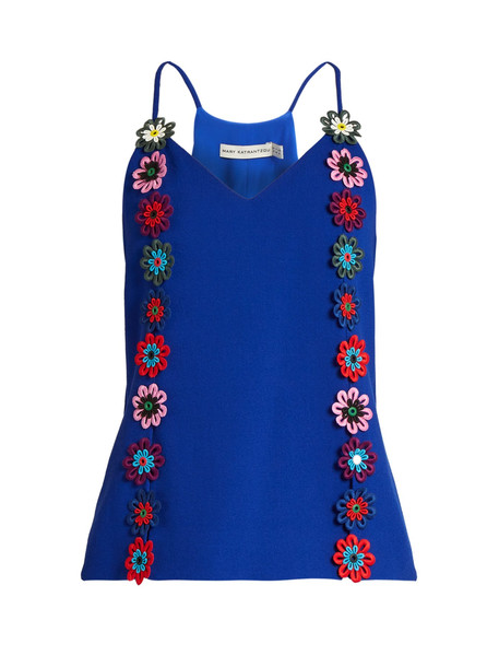 MARY KATRANTZOU Osbourne floral-lace embellished crepe cami top in blue