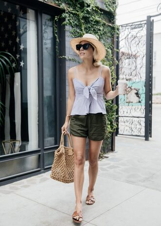 top sunglasses tumblr blue top shorts khaki sandals flats flat sandals bag woven bag hat sun hat