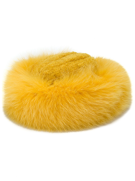 fur hat yellow orange
