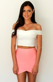 shirt,bandage skirt,skirt,blouse,pink skirt,pink skirt and white top,tank top,top,white,off shoulder crop top