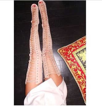 shoes nude high heels strappy sandals knee high boots nude celebrity style fashion