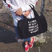 bag,quote on bag,bowling bag,black bowling bag,white quote,black,black bag,quote on it