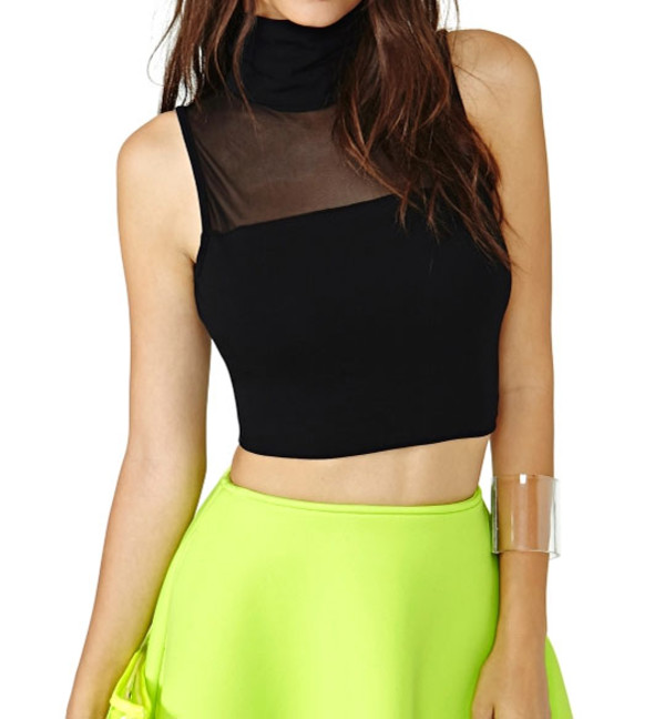 top see trough pertty elegant skirt black yellow sleeveless streetstyle