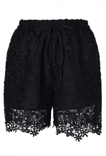 Black Relaxed Full Lace Shorts  - Retro, Indie and Unique Fashion